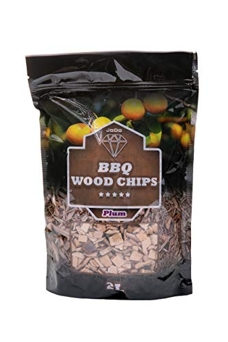 JoDo BBQ Smoking Wood Chips - 100% Natural Hardwood Chips in Alder, Oak, Apple Flavour Perfect for Chicken, Pork, Fish, Lamb, Beef, Game Meat and Vegetables (Plum)