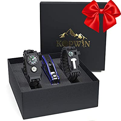 Kopwin Paracord Survival Bracelet Set - Bonus Keychain Multitool Included. Paracord Bracelet with Compass, Magnesium Flint Fire Starter, Emergency Whistle, Knife and Led Light. Set of 2. Green by Kopwin