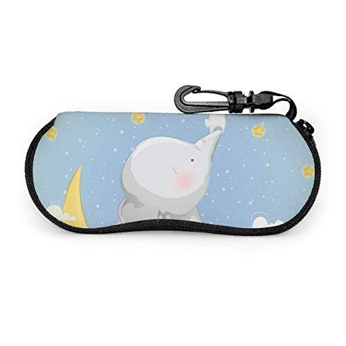 Gafas de sol con funda blanda de neopreno ultraligera y pequeño elefante que ayuda al conejo a atrapar las estrellas, estuche para gafas con cremallera