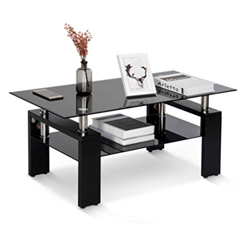 Rectangle Glass Coffee Table Modern Small Side Tables Living Room Furniture Sets Top Lower Shelf Chrome and MDF Coffee table with storage Coffee Table for living room (Black With Black Tempered Glass)