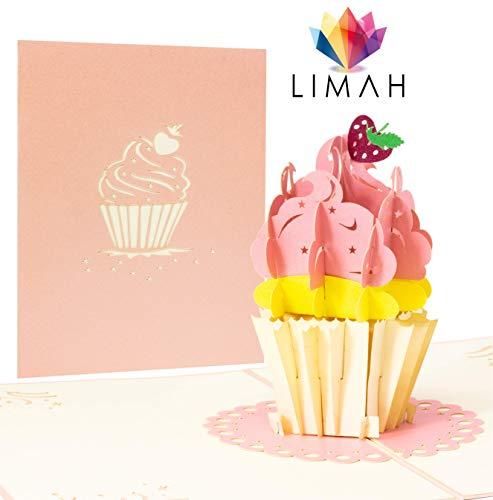 LIMAH® Pop Up 3D Geburtstagskarte mit Cupcake, Glitzer-Glückwunschkarte, Freundschaftskarte, Geschenkkarte, Überraschungskarte mit rosa Creme und einer Erdbeere dekoriert