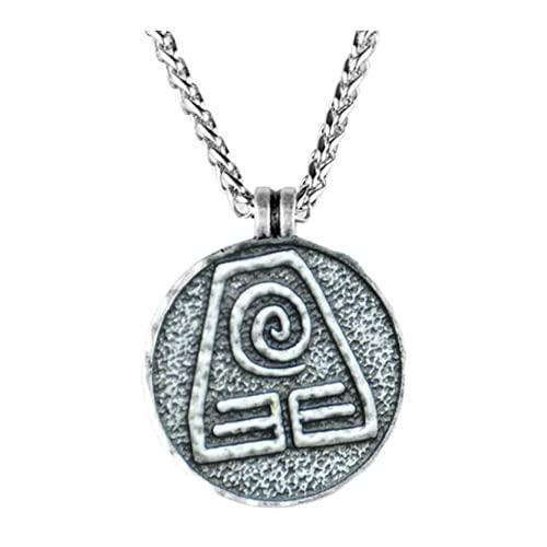 Colar Avatar A Lenda de Aang Corrente Prata Vintage Amuleto (Elemento Terra)