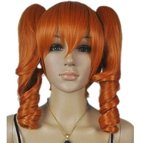 Nunubee Orange Lolita Loli Wavy Curly Curl Two Clip-On Ponytail Short Long Straight Full Hair Cosplay Anime Costume Wig