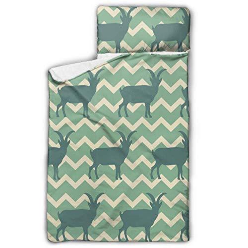 Sacos de dormir populares para niños de dibujos animados de cabra para niños Sacos de dormir para niños con diseño de manta y almohadas enrollables Ideal para preescolares guarderías para niños 50