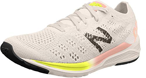 New Balance Women's 890 V7 Running Shoe, White/Guava Glo/Bleached Lime Glo, 7 M US