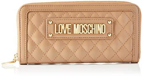Love Moschino Portafogli Quilted Nappa Pu, Donna, Beige (Cammello), 9x2x20 cm (W x H x L)