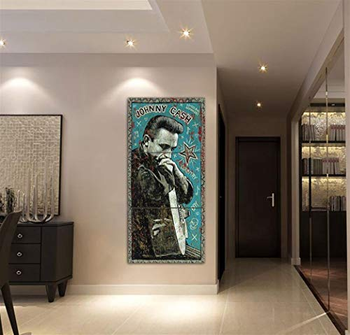 Leinwand-Malerei Innen 3 Stück Johnny Cash Blau Malerei Qualitäts-Segeltuch HD-Druck-Ölgemälde-Wand-Kunst-Bilder Poster Wohnkultur For Wohnzimmer Leinwand Hang Gemälde (Size (Inch) : 60cmx80cmx3pcs)