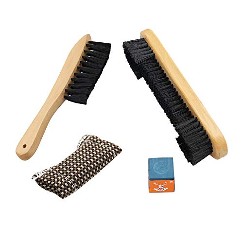 DML Set of 4 Billiards Pool Table & Rail Brush Cleaning Tools - Wooden Kit of Billiard Accessories with Felt Cloth Shaft Slicker & Small Cue Chalk Cube - Premium Brushes Sights Supplies