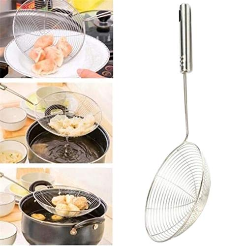 haixclvyE Stainless Steel Colander, Kitchen Stainless Steel Long Handle Colander With Handle, Used For Kitchen Fried Food And Pasta