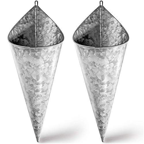 Hallops Galvanized Wall Planter - Two(2) Cone Metal Hanging Vase Container. Farmhouse Rustic Decor. Tin Style Tall Bucket or Pocket for Plants or Flowers