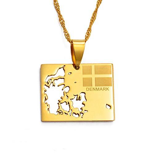 Nobrand Dänemark Karte & Flagge Charme Anhänger und dünne Halsketten für Frauen/Mädchen Gold Farbe Schmuck Geschenk