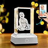 QIANRUNA 3D Photo Crystal Personalized Laser Etched Engraving Gifts for Wedding and Anniversary,Customized Mothers Day Gifts,Gifts for Dad Father's Day Gifts
