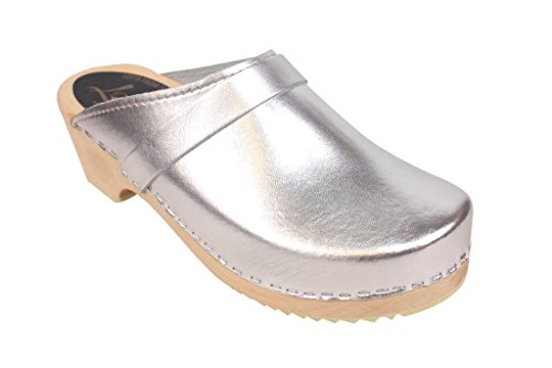 Lotta From Stockholm Swedish Clogs : Classic Clog in Silver - 10