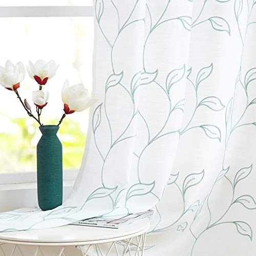 Blue-White Sheer Curtains 84inch for Living Room Bedroom Leaf Window Curtains Botanic Embroidery Vine Pattern Linen Textured Drapes No See-Through Curtain Panels for Office Home Patio Balcony 2Pcs