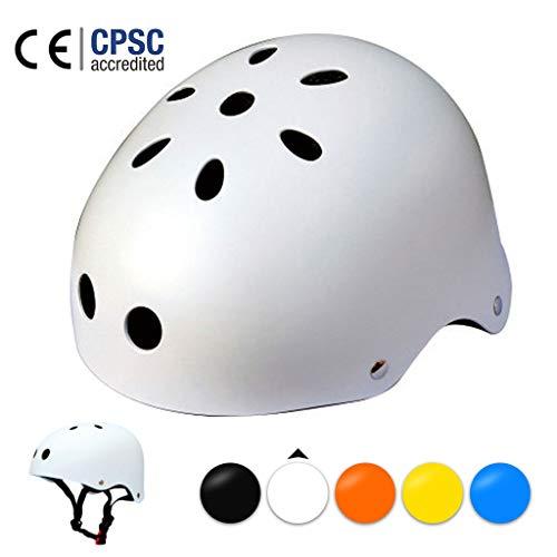 LXXTI Skateboard-Helm, Fahrradhelm, Kinder-Helm zum Skifahren, Scooter-Helm,Größe 50-61cm, Skate Helm, MäDchen FahrradHelm, Mountainbike Helm Jungen,Weiß,M