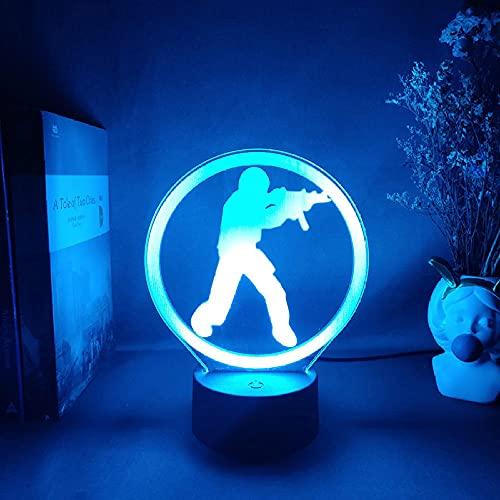 Lámpara de ilusión 3D, juego de Sniper Player 3D, ilusión nocturna, Gaming Room, Escritorio, configuración, retroiluminación LED, 7 colores táctil MDJK