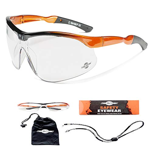 ToolFreak Agenten veiligheidsbril met maximale UV-bescherming voor dames en heren, zonder aanslag, krasbestendig, gebogen glazen voor comfortabele pasvorm en maximale bescherming van de ogen, verbetert het zicht, helderheid en beschermt de ogen met doorzichtige of getinte glazen, modieuze bril voor industrie, sport en outdoor-activiteiten, met microvezel opbergtas en verstelbare schoudertas and / draagband universal Schwarz und Orange
