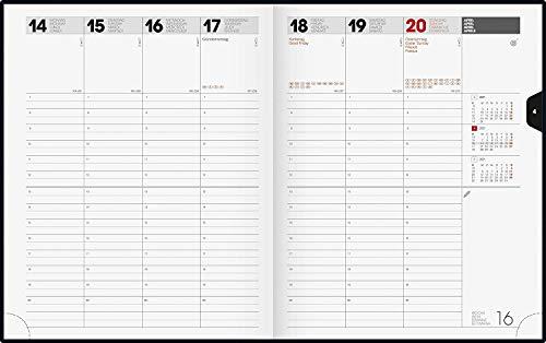 BRUNNEN 1076160901 Buchkalender Manager Wt 7 - weektimer, 2 Seiten = 1 Woche, 21 x 26 cm, Balacron-Einband schwarz, Kalendarium 2021