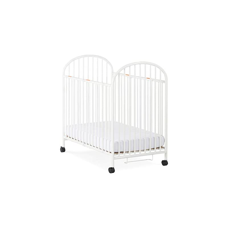 crib bedding and baby bedding child craft compact arched sweet dreamer mini portable folding metal crib with locking wheels, white