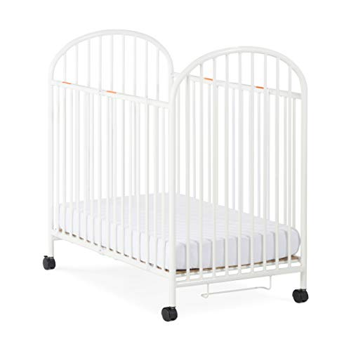 Child Craft Compact Arched Sweet Dreamer Mini Portable Folding Metal Crib with Locking Wheels, White