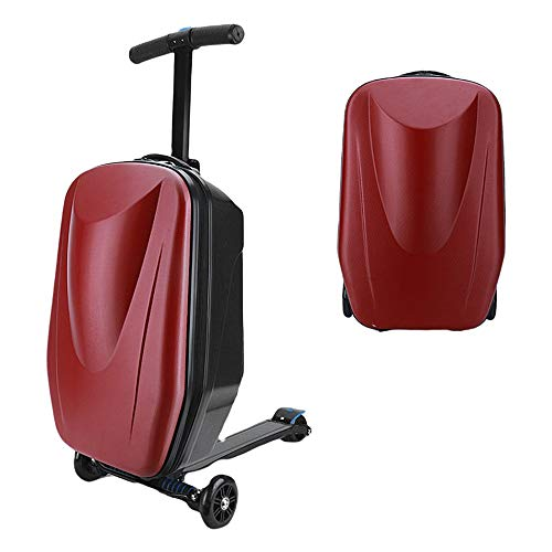 20-Inch Children's Trolley Luggage Scooter 3-8-12 Years Old Boarding Suitcase Luggage Lightweight Folding Sliding Smoothly and Sturdy and Stable,Red