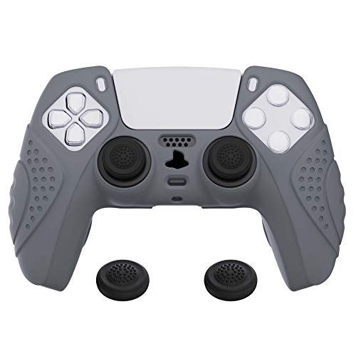 eXtremeRate PlayVital Guardian Edition Gray Ergonomic Soft Anti-Slip Controller Silicone Case Cover for DualSense, Rubber Protector Skins with Black Joystick Caps for PS5 Controller