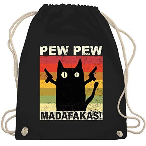 Sprüche Statement mit Spruch - Pew Pew Madafakas Katze Vintage hell - Unisize - Schwarz - Fun - WM110 - Turnbeutel und Stoffbeutel aus Baumwolle