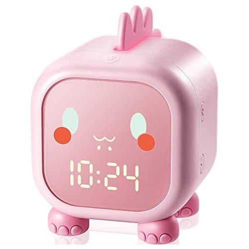 Reloj despertador con diseño de dinosaurio, colorido y luz nocturna, reloj despertador digital para niños Aleep Coach, regalo cumpleaños para niños, adecuado para dormitorios,color rosa
