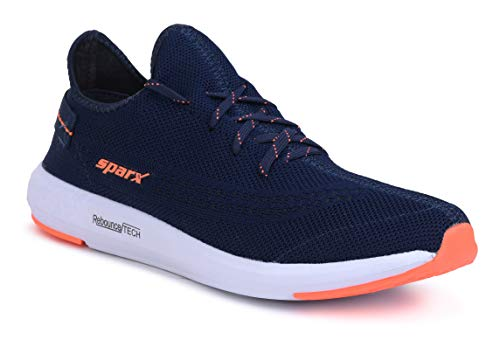 Sparx Men SM-482 Navy Blue Neon Orange Sports Shoes