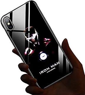 Spiderman Venom Call Flash Coque en verre phosphorescent anti-chute pour iPhone XR X/XS Max 7/8plus 6/6splus iPhoneXs C