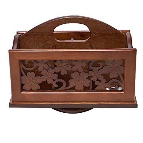 MagiDeal Soporte de Control remoto de madera tallada, caja de Caddy remoto para TV de escritorio giratorio de 360 grados, organizador de mesa para controlador, Cuatro de hoja de trébol
