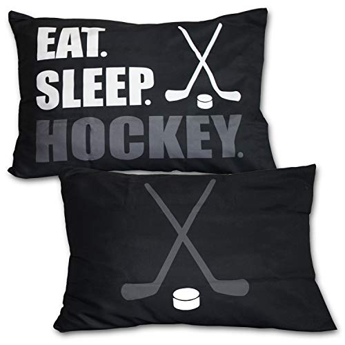 KNITPOPSHOP Eat Sleep Hockey Stick and Puck Pillowcase 2 Pack for Standard Size & Twin Pillow Decor Boys Dad Girl Gift