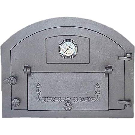 Gusseisen 70 x 65 cm Ofentür Backofentür Brotbackofen Pizzaofentür Thermometer