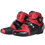 TSRJ Motocicleta Zapatos de Moto Impermeable Rider Botas Cortas de Carreras de Tobillo Cuero para Hombre Antideslizante Impermeable,Red-40