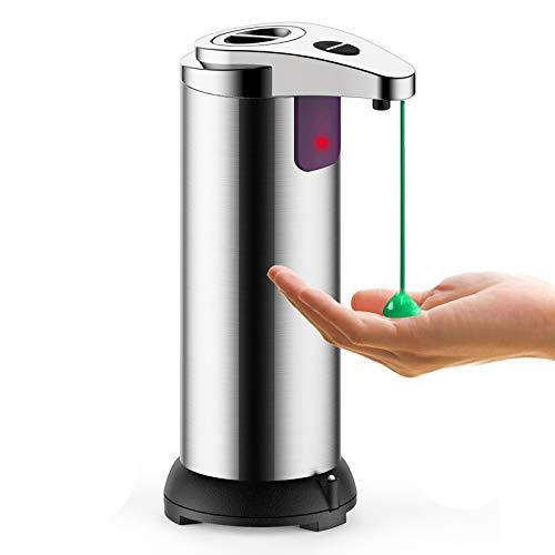 ASANMU Dispenser Sapone Automatico, Automatico Dispenser di Sapone Liquido a Infrarossi Touchless, Dispenser Sapone Bagno per Mano Sanitiser, Base Impermeabile, Acciaio Inox, per Bagno Cucina Ufficio
