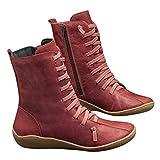 2019 Botas para Mujer, Soporte del Arco, Cómodos Botines de Deslizamiento Plano para Mujer, Zapatos Casuales para Mujer Otoño Invierno con Hebilla con Cremallera (38, Rojo C)