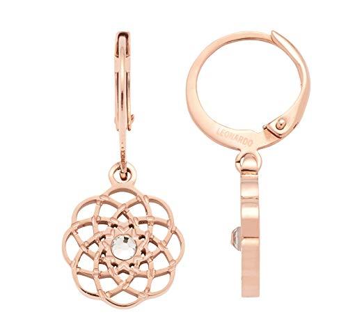 JEWELS BY LEONARDO Damen-Ohrhänger Alba, Edelstahl IP roségold mit Mandala-Design und klaren Schliffkristallen, Größe (B/H/T): 11/27/12 mm, 016785
