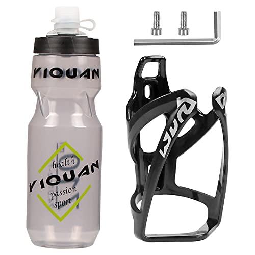Wishstar Flaschenhalter Fahrrad, Getränkehalter Fahrrad mit 710ml Trinkflasche, Fahrradflasche mit Halterung, Fahrradflaschenhalter für MTB/Rennrad/Falträder - Weiß