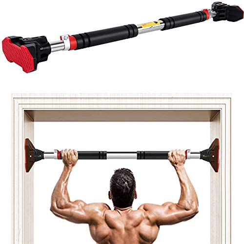 LADER Doorway Pull Up Bar and Chin Up Bar,Upper Body Workout Bar No Screw Installation for Home Gym Exercise Fitness with Level Meter and Adjustable Width,up to 440 lbs (Black)