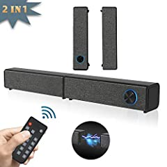 ♫ [Upgrade 2 IN 1 Detachable Design]--Purchase one sound bar,you can get two!Detachable design give you more choices.It can be combined into a 20.21-inch speaker and placed on the TV cabinet,or be divided into 2 independent soundbar,placed on both si...