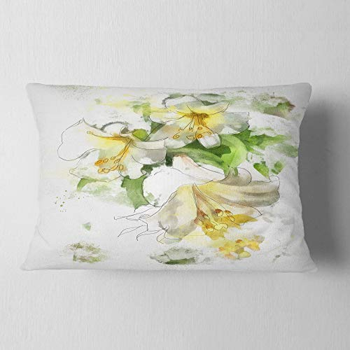 Designart Bunch Of Small Flowers Watercolor Floral Throw Lumbar Cushion Pillow Cover For Living Room Sofa 12 In X 20 In Shefinds