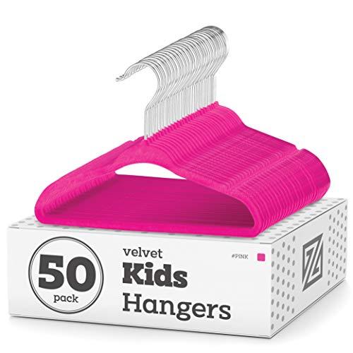 """Premium Kids Velvet Hangers 14"""" Inch - 50 Pack Nonslip Kids Hangers Ultra Slim Space-Saving Childrens Hangers - 360°-Swivel Hook Strong Durable Children Hangers Medium"""