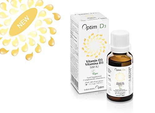 Optim D3 Vitamine D3 naturelle, végétale et vegan - 500UI par goutte - Flacon compte gouttes de 20ML - enregistré à la VEGAN SOCIETY - plantes - Vitashine - adultes - enfants