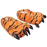 Happyyami Pantuflas de Tigre Peluches de Animales Peludos Garra Pantuflas de Felpa Pantuflas Pies de Monstruo Zapatos para El Hogar Disfraz Fiesta Favor Regalos
