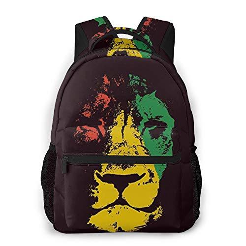 Grüner Löwenkopf Marley Rasta Wildlife Gelb Rot Bob Reggae Judah Jamaika Farbe Freizeitrucksack Freizeitrucksäcke für Schulreisen Hikng Work