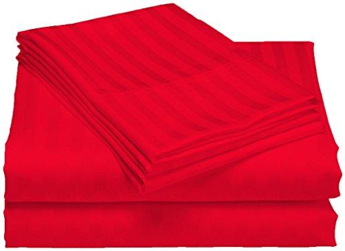 Scala SCALABEDDING ägyptische Baumwolle, Fadenzahl 500, 23-Zoll-tiefe Tasche-Set Spannbetttuch und Kissenbezug Doppel-Blutdruckmessgerät, rot gestreift