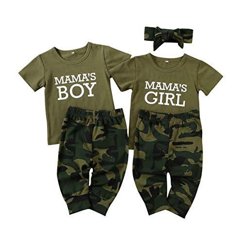 Geagodelia Juego de 2 piezas de ropa de bebé de camuflaje verde militar de verano camiseta Alphabet de manga corta + pantalones niña 0-6 Meses