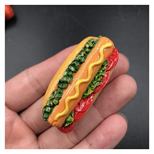 JSJJAYH Magnes na lodówkę Pekin pieczenie kaczka pizza hot dog chleb hamburger żywica lodówka pasta magnes rzemiosło żywność dekoracja domu magnesy na lodówkę codzienne potrzeby (kolor: 3 bułki z Hotdogami)