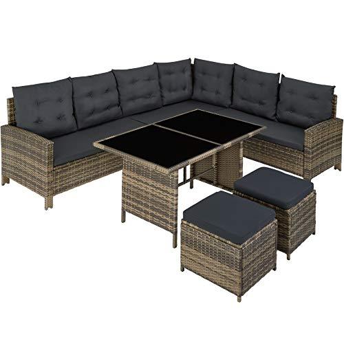 TecTake 800824 Polyrattan Lounge Set für Garten und Terrasse, Gartenmöbel Set mit Sofa, Hocker + Tisch, 5-teilige Sitzgruppe, inkl. Sitz- & Rückenkissen - Diverse Farben - (Natur | Nr. 403721)