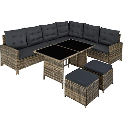 TecTake 800824 Rattan Garden Furniture Set with Corner Sofa, Table and Stool, Outdoor Patio Dining Set, 5 Piece Seating...